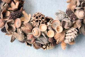 naturmaterialien-eicheln, bucheckern-zapfen-kranz